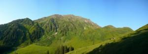 Blick über die Lärchenbergalm auf den Steinbergstein