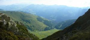 Blick nach unten auf die Lärchenbergalm und Niederkaralm