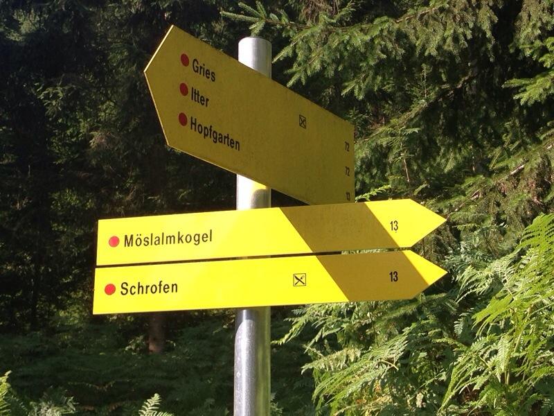 Wanderwegsbeschilderung am Bruggberg/Itter