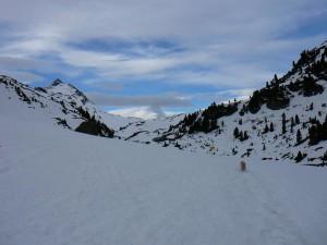 die Bambergerhütte noch zeigt sich noch tief winterlich